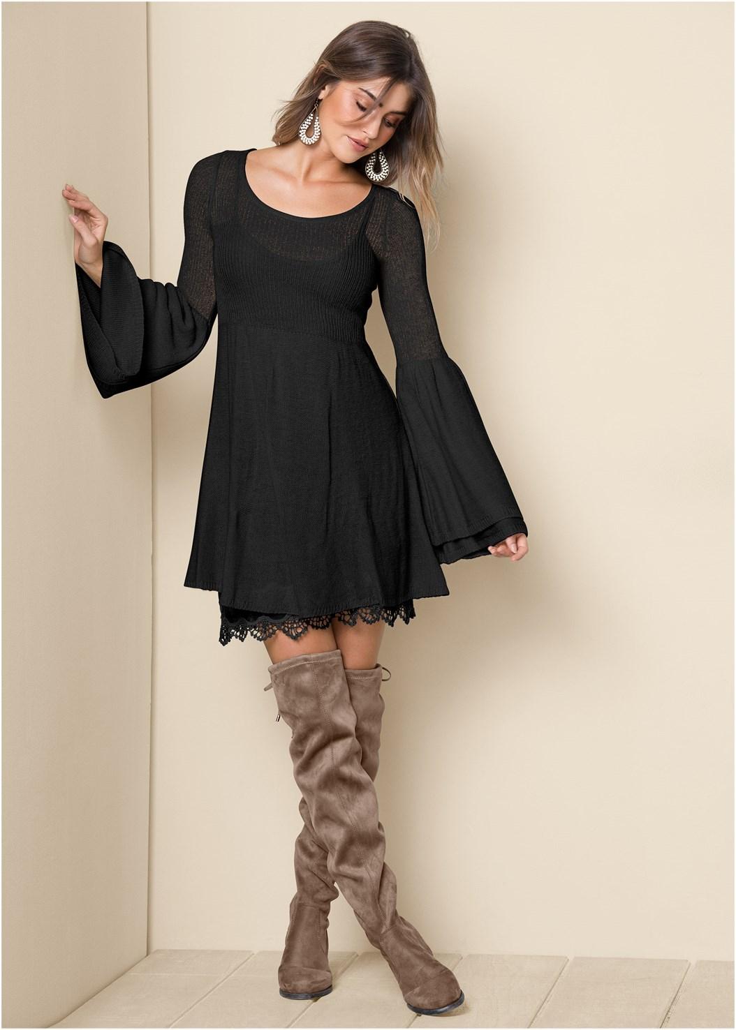 Boho Sweater Dress,Unlined Geo Lace Bra,Over The Knee Stretch Boots,Beaded Drop Earrings,Wide Velvet Belt,Circular Straw Bag