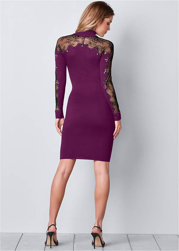 Back view Lace Detail Sweater Dress