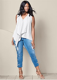 plus size embellished ripped jeans