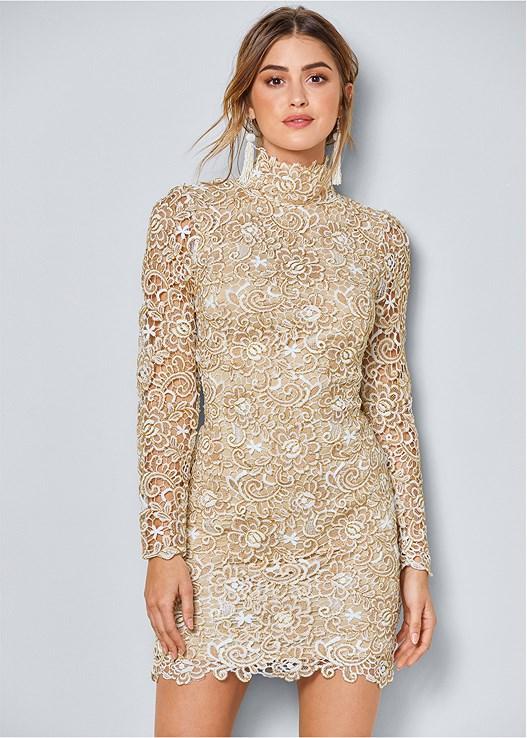 Open Back Lace Dress in Gold Multi | VENUS