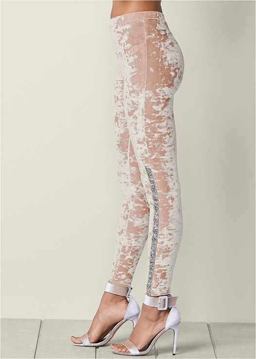 387e85f1acc82b EMBELLISHED VELVET LEGGINGS in Dusty Rose | VENUS