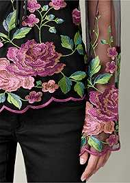 Alternate View Embroidered Mesh Blouse
