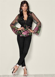 Front View Embroidered Mesh Blouse