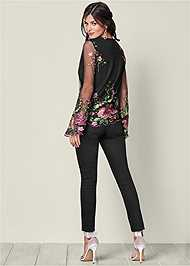 Back View Embroidered Mesh Blouse