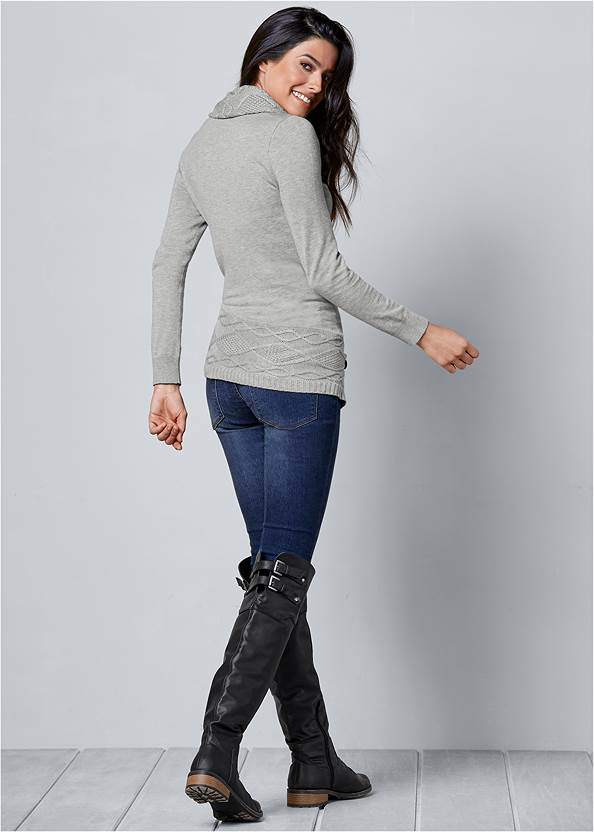 Back view Buckle Detail Cowl Sweater