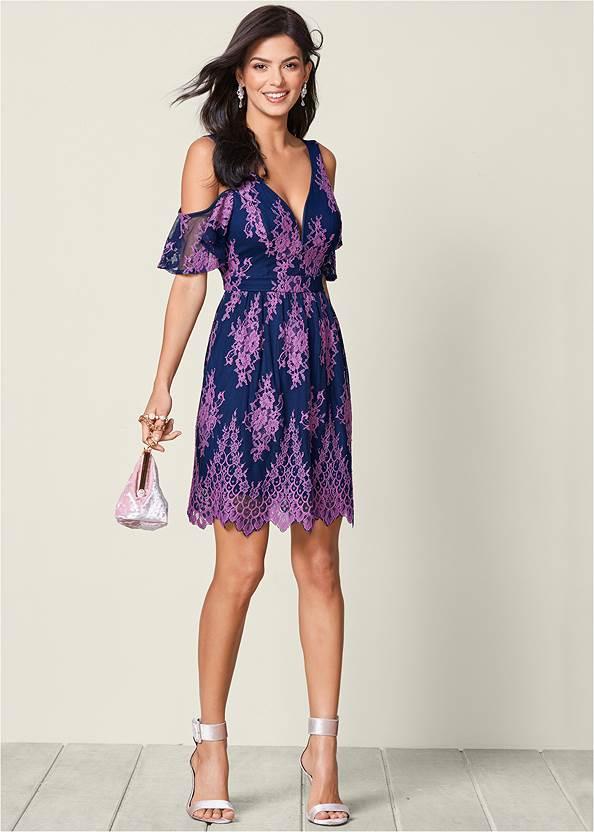 Front View Cold Shoulder Lace Dress