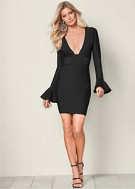 Front View Slimming V-Neck Dress