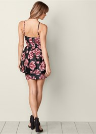 Back View Floral Ruffle Detail Dress