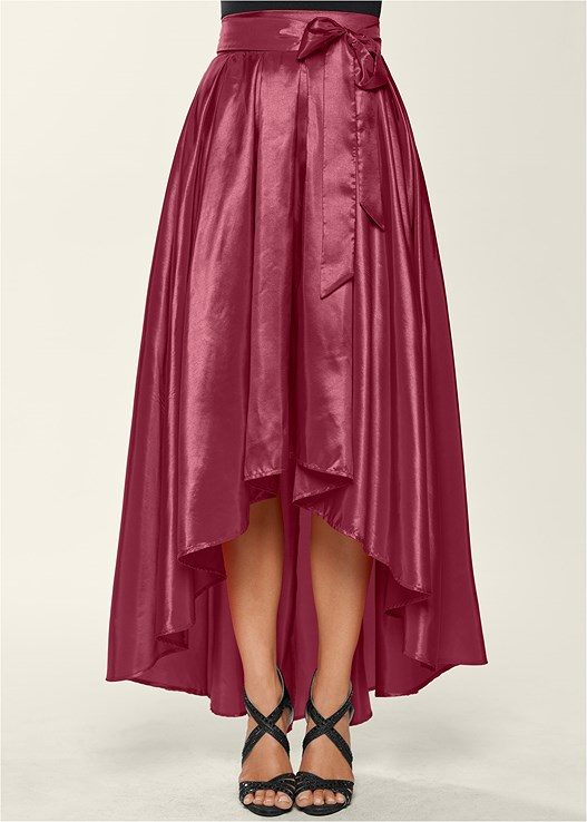BELTED HIGH LOW SKIRT