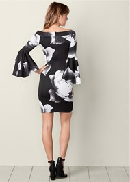 Back view Sleeve Detail Floral Dress
