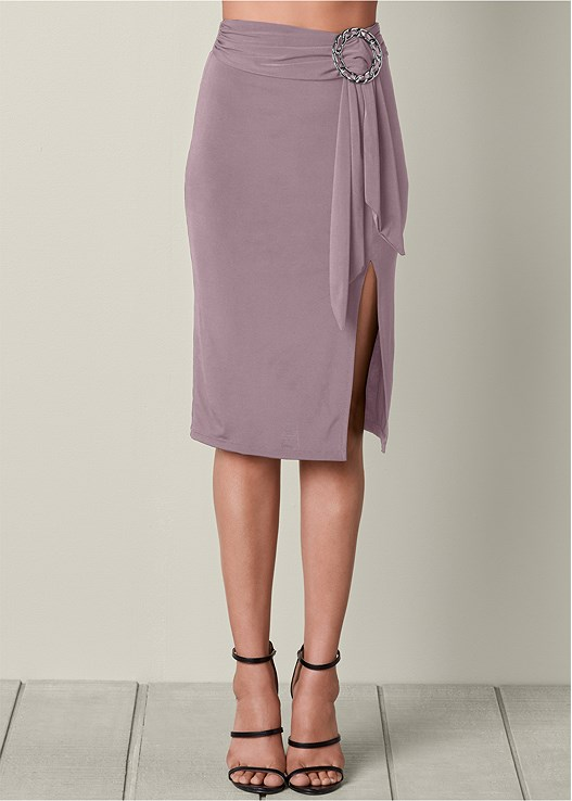 RING AND SASH MIDI SKIRT,SEAMLESS CAMI,HIGH HEEL STRAPPY SANDALS