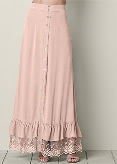 button front lace hem skirt