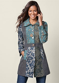 mixed print coat