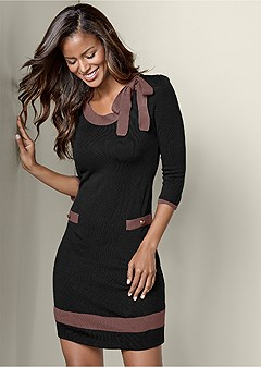bow detail sweater dress