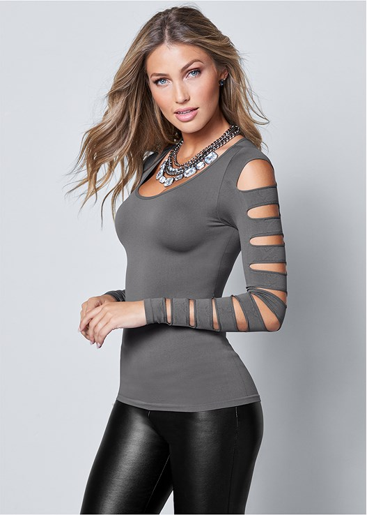 CUT OUT LONG SLEEVE TOP,FAUX LEATHER LACE UP SHORTS,TIE BACK BOOTS
