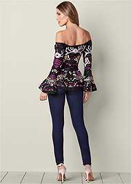 Back View Embroidered Peplum Top