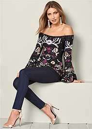 Front View Embroidered Peplum Top