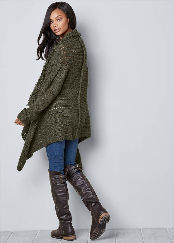 Back View Open Knit Cardigan