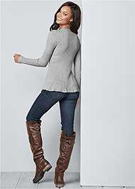 Back View Ribbed Peplum Sweater