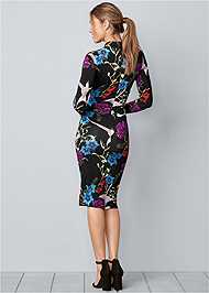 Back View Long Sleeve Printed Dress