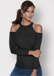 Front View Ribbed Long Sleeve Top