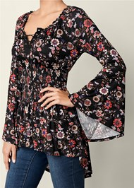 Alternate View Lace Up Smocked Waist Top