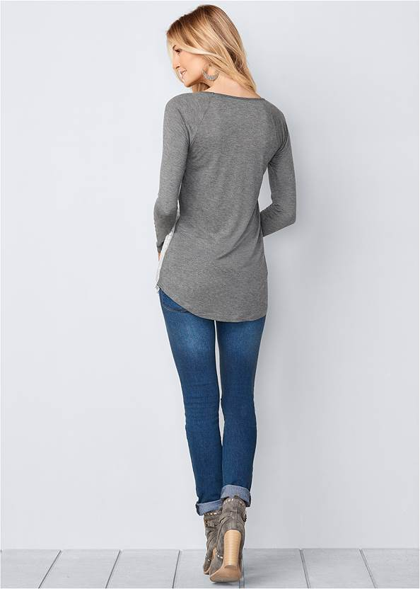 Back View Embroidered Layered Top