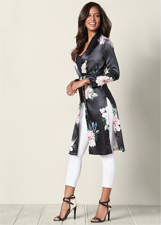 FLORAL LONG JACKET,COLOR SKINNY JEANS,WRAP AROUND HEELS