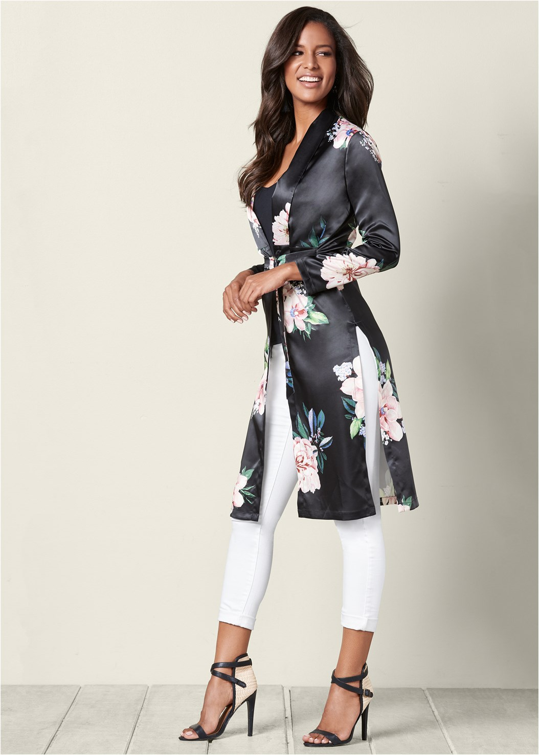 Floral Long Jacket,Mid Rise Color Skinny Jeans,Wrap Around Heels