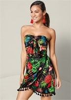strapless tropical dress