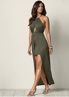 open back high low maxi