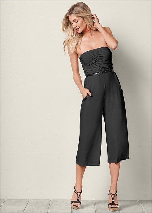 STRAPLESS CULOTTE JUMPSUIT,BRAIDED DETAIL WEDGES