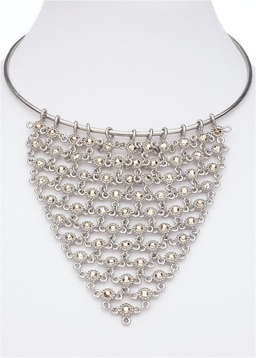 com bib necklace shoulder deco wedding rhinestone women dp tone wiipu amazon clear silver