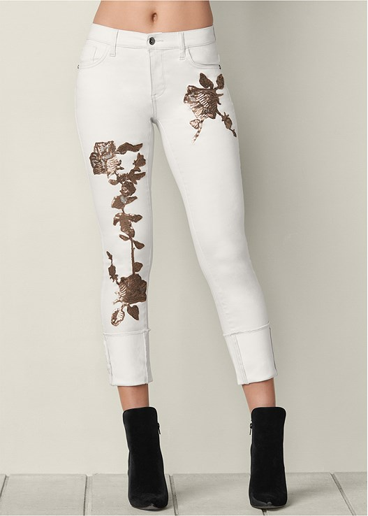 FLORAL SEQUIN CUFFED JEANS