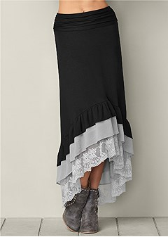 ruffle layered maxi skirt