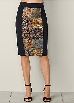 mixed media midi skirt