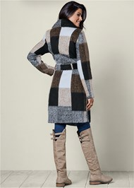 Back View Belted Plaid Coat