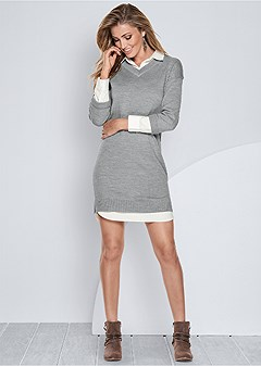collar detail sweater dress