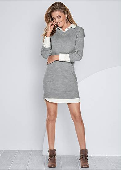 Collar Sweater Twofer Dress