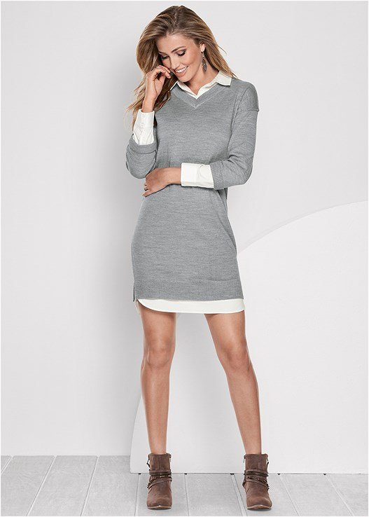 f6c05d0d1a9d collar detail sweater dress