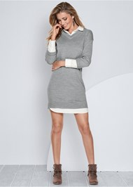 Collar Sweater Twofer Dress