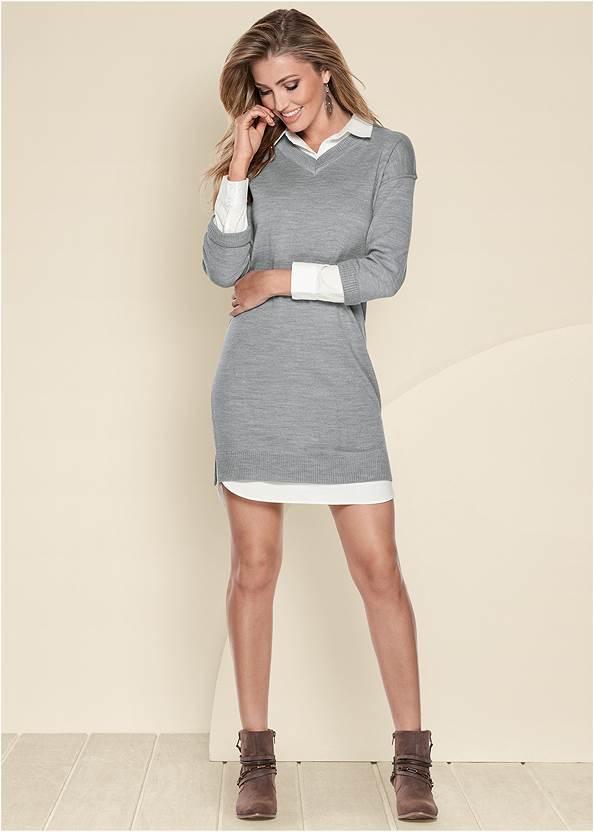 Collar Sweater Twofer Dress,Wrap Stitch Detail Booties,Beaded Thread Hoop Earrings,Python Clutch