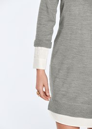 Alternate View Collar Sweater Twofer Dress