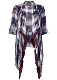 ALTERNATE VIEW Plaid And Fringe Cardigan