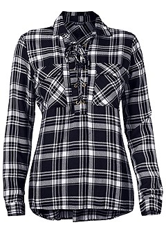plus size plaid lace up top