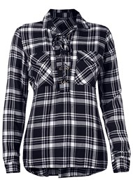 Alternate View Plaid Lace Up Top