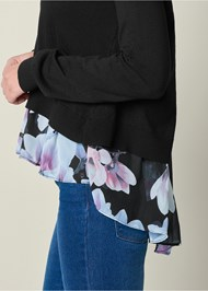 Alternate View Floral Print Twofer Sweater