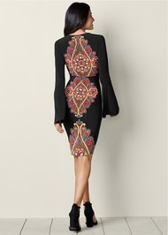 Back view Printed V-Neck Dress