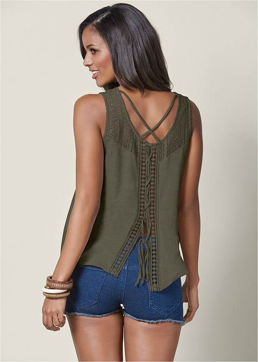 LACE DETAIL LACE UP TOP,CUT OFF JEAN SHORTS,LACE UP GLADIATOR SANDALS
