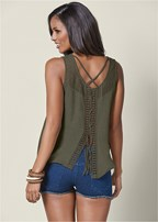 lace detail lace up top
